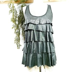 Metallic Silver Sparkly Ruffle Tiered Tank Small